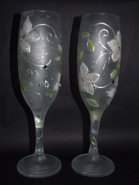 frosted , hand painted wedding glasses