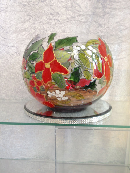 red ponsietta design christmas globe candle holder