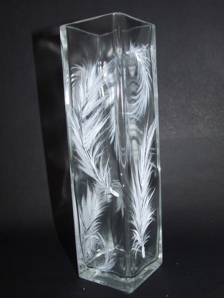 white feather vase