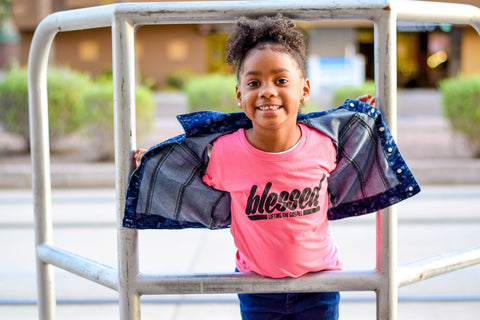 Youth Girl's Pink Blessed Tee