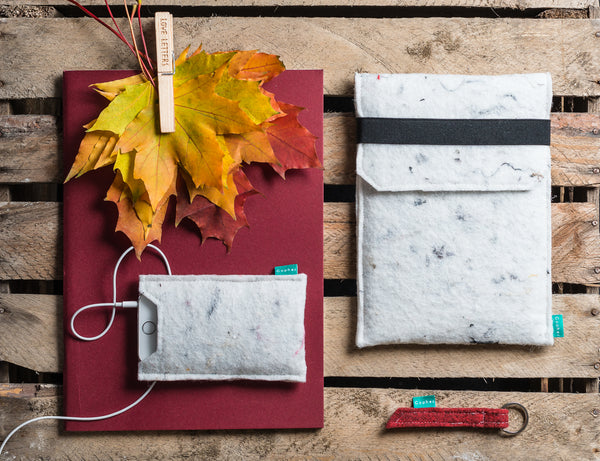 White industrial iPad case with flap and elastic band with simple felt iPhone case - designed and handmade by Gopher