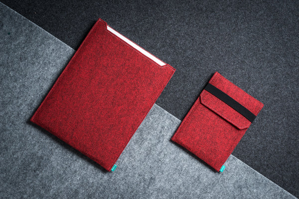 Red felt Macbook case with red felt iPad case with flap and elastic band - designed and handmade by Gopher
