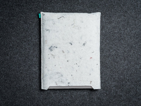 White industrial felt Wacom sleeve for Intuos, Cintiq, Bamboo graphic tablet - designed and handmade by Gopher