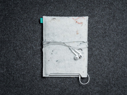Simple white industrial felt iPad sleeve for your iPad Air and iPad Mini - designed and handmade by Gopher