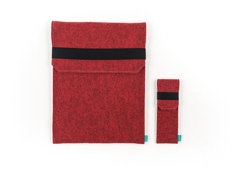 Red felt Macbook case with flap elastic band for Macbook 2015, Macbook Pro and Macbook Air with felt pencil holder  - designed and handmade by Gopher