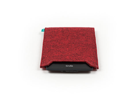 Red felt handmade Kindle sleeve / Kobo sleeve - designed and handmade by Gopher