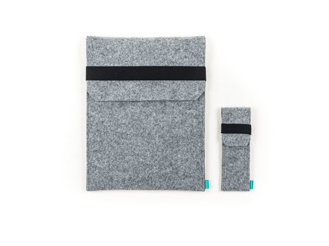 Light gray felt Wacom case with flap and elastic band together with stylus holder for Intuos, Cintiq and Bamboo graphic tablet - designed and handmade by Gopher