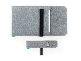 Light gray felt Macbook case with open flap elastic band for Macbook 2015, Macbook Pro and Macbook Air with felt pencil holder - designed and handmade by Gopher