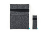 Dark gray felt Wacom case with flap and elastic band together with stylus holder for Intuos, Cintiq and Bamboo graphic tablet - designed and handmade by Gopher