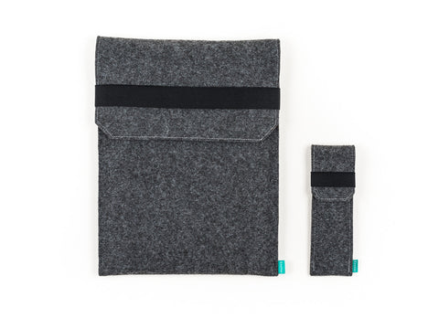 Dark gray felt Macbook case with flap elastic band for Macbook 2015, Macbook Pro and Macbook Air with felt pencil holder  - designed and handmade by Gopher