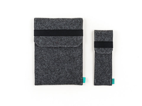 Dark gray felt iPad case with flap and felt stylus holder - designed and handmade by Gopher