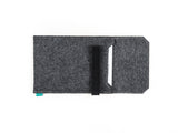 Dark gray felt Wacom case with opended flap and elastic band for Intuos, Cintiq and Bamboo graphic tablet - designed and handmade by Gopher