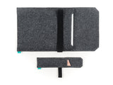 Dark gray felt Wacom case with opended flap and elastic band together with stylus holder for Intuos, Cintiq and Bamboo graphic tablet - designed and handmade by Gopher