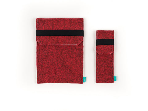 Red felt iPad case with flap and felt stylus holder - designed and handmade by Gopher