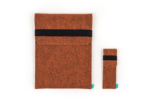 Orange felt Wacom case with flap and elastic band together with stylus holder for Intuos, Cintiq and Bamboo graphic tablet - designed and handmade by Gopher