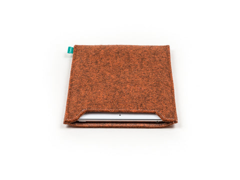 Simple orange felt iPad sleeve for your iPad Air and iPad Mini - designed and handmade by Gopher