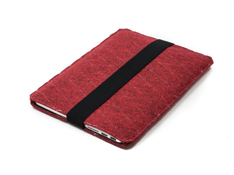 Red quilted felt Macbook sleeve with elastic strap for Macbook 2015, Macbook Pro and Macbook Air  - designed and handmade by Gopher