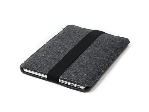Dark gray quilted felt Macbook sleeve with elastic strap for Macbook 2015, Macbook Pro and Macbook Air  - designed and handmade by Gopher