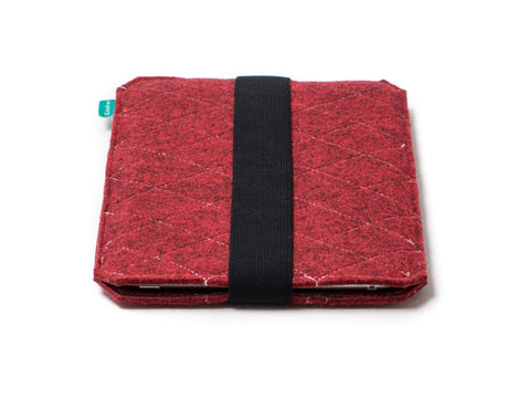 Kindle case / Kobo case made from red quilted felt with elastic strap for easy opening - designed and handmade by Gopher