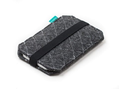 Dark gray quilted felt case for Nexus 6p, Nexus 6, Nexus 5x, Nexus 5, Nexus 9 and Nexus 7 tablet and other Nexus devices - designed and handmade by Gopher