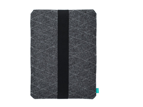 Dark gray Wacom case with elastic strap made from quilted felt available as Intuos case, Cintiq case and Bamboo case -designed and handmade by Gopher