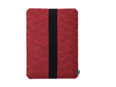 Red Wacom case with elastic strap made from quilted felt available as Intuos case, Cintiq case and Bamboo case -designed and handmade by Gopher