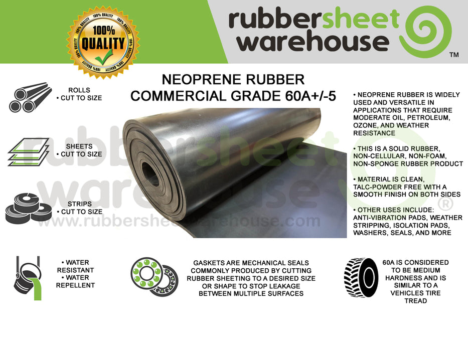 Neoprene Rubber Rolls & Sheets | 60A Medium Hardness