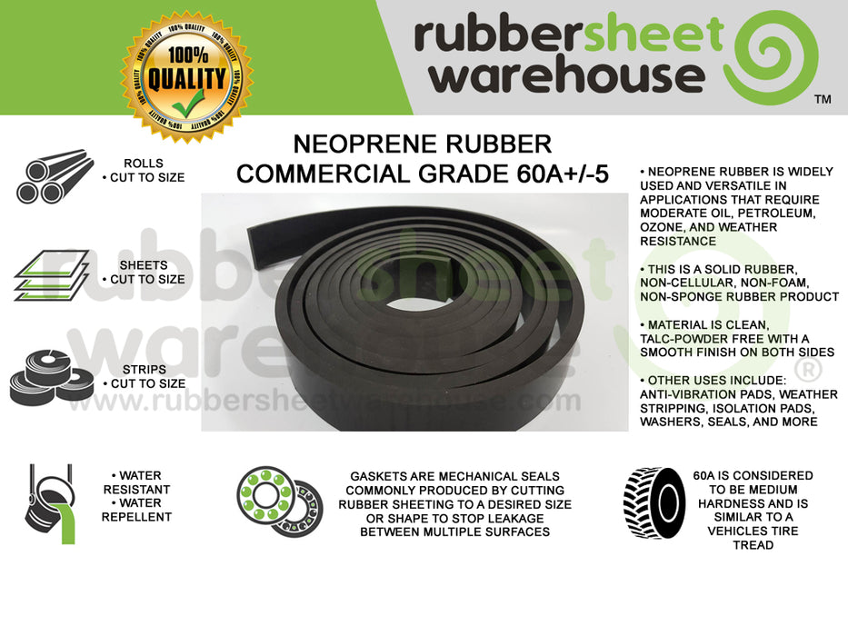 Full Roll | Neoprene Rubber Strips | 60A Medium Hardness
