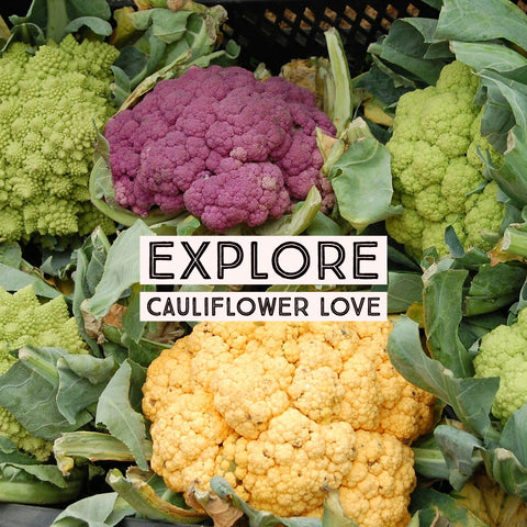 Cauliflower Varieties at the farmers' market, ready for prep!