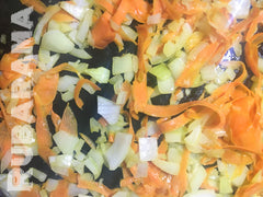 Onions, carrots, and Rubarama for Hachis Parmentier