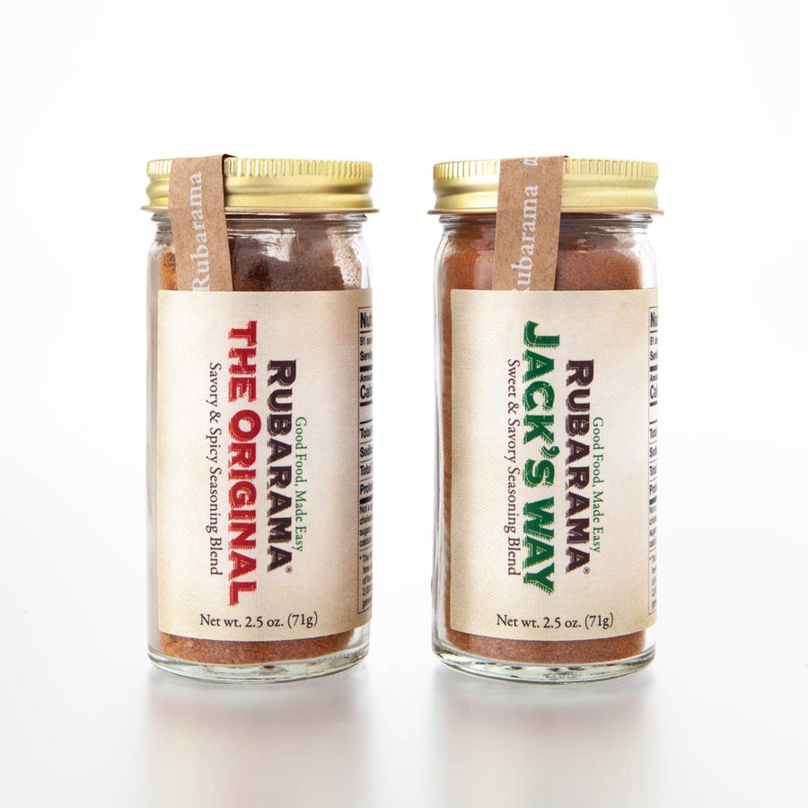 Rubarama's The Original and Jack's Way Blend in a glass bottle with shaker fitment. All US made packaging and labeling.