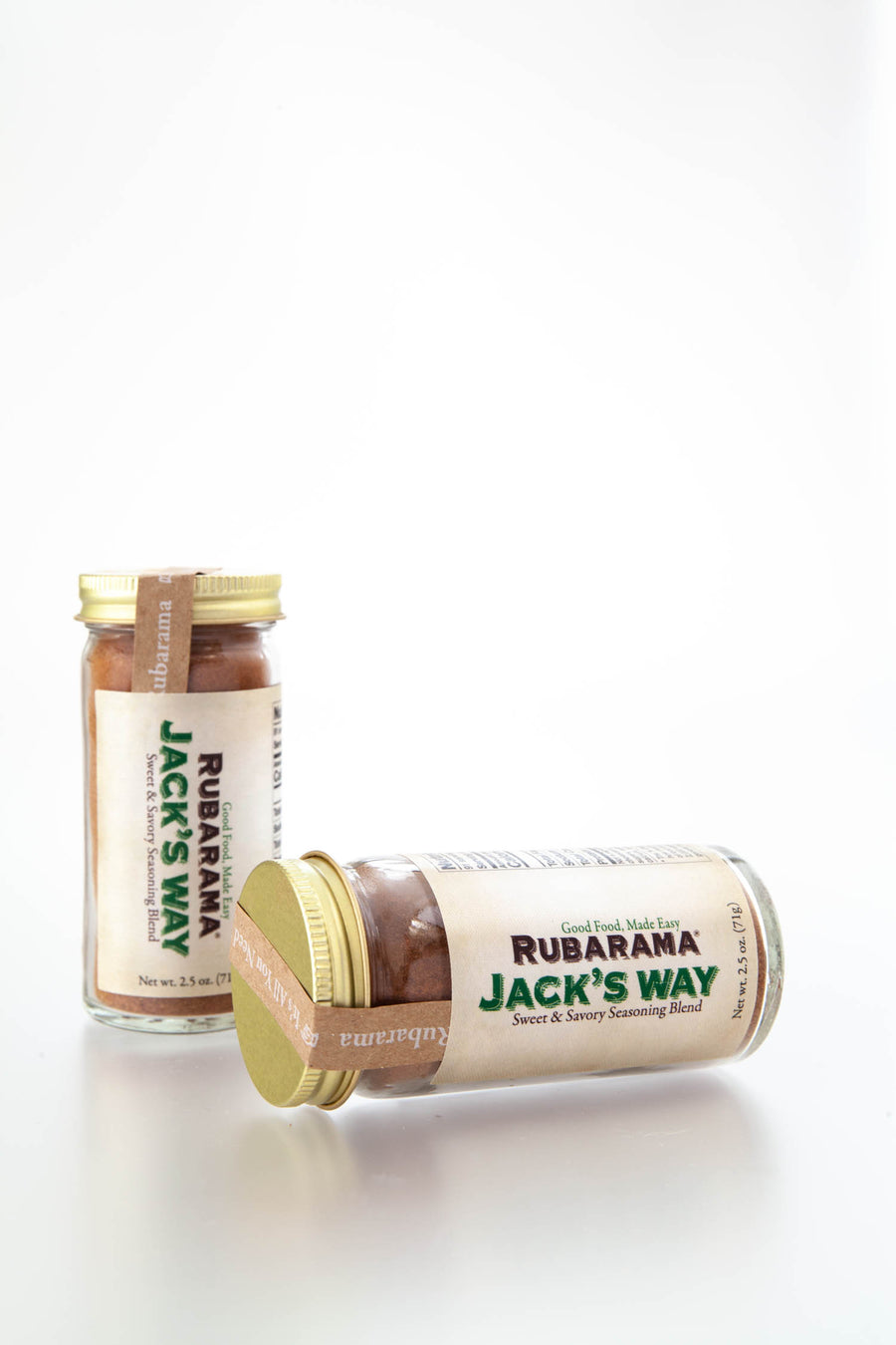 Rubarama's Jack's Way Blend in a glass bottle with shaker fitment. All US made packaging and labeling.