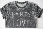 livin on love grey christian tee