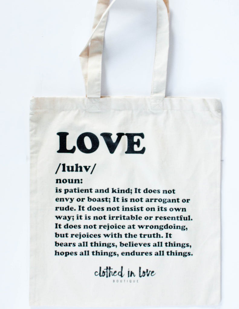 Love definition Tote Bag