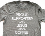 jesus and coffee christian tee
