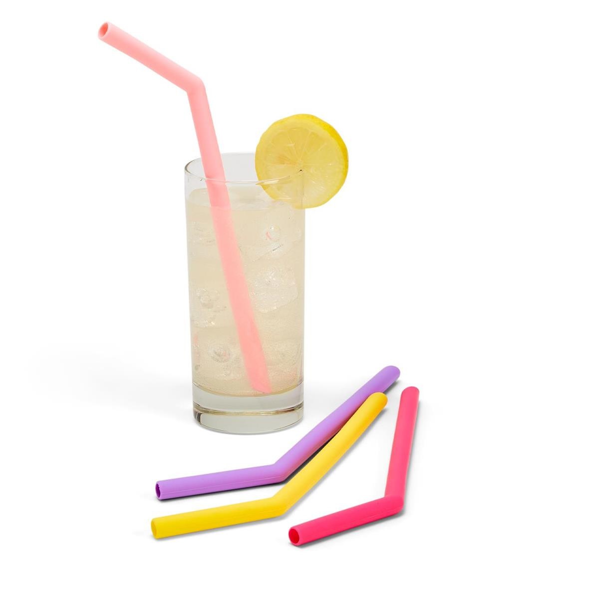 Set of Four Reusable Straws with Brush Cleaner
