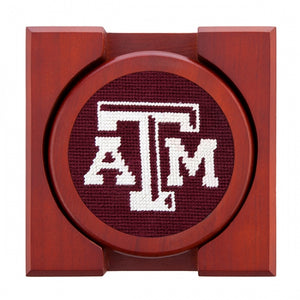 Texas A&M (Maroon) Needlepoint Coaster Set