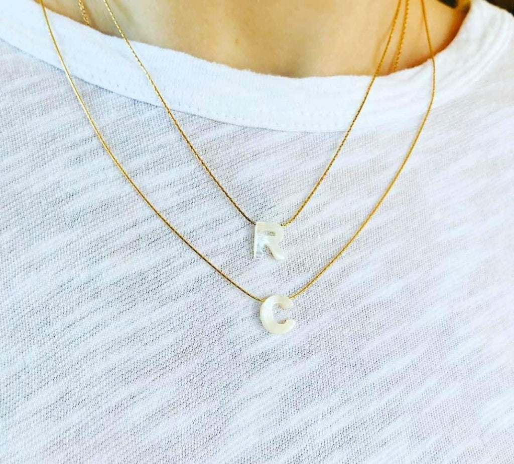 Mother of Pearl Initial Necklaces