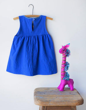 Embroidered Sleeveless Dress - Royal Blue