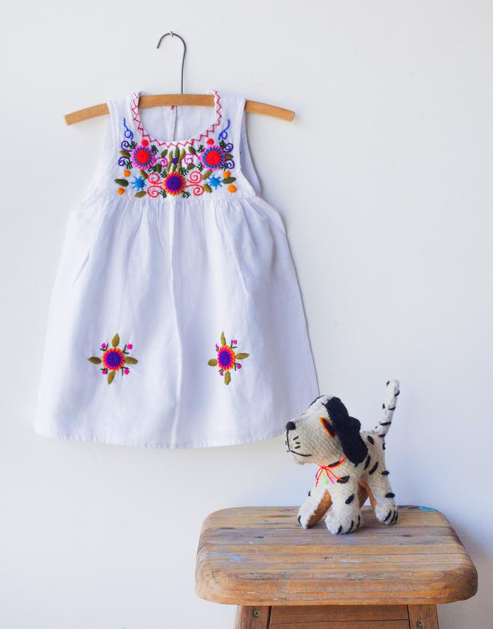 Embroidered Sleeveless Dress - White