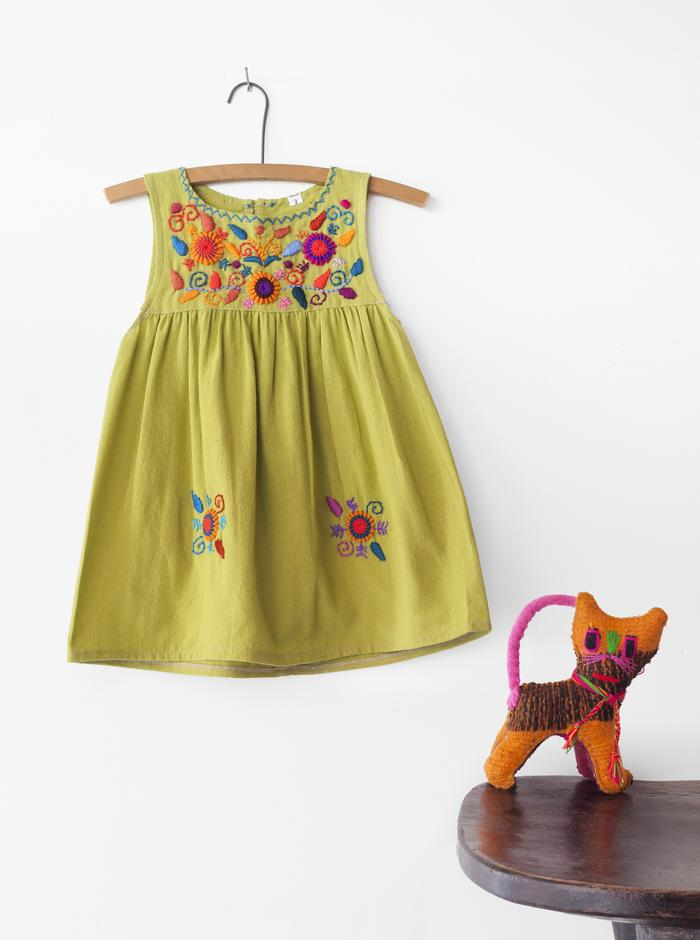 Embroidered Sleeveless Dress - Lime Green