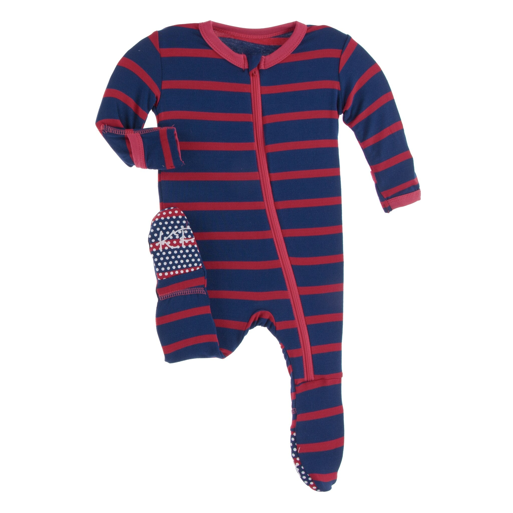 print footie, everyday heroes navy stripe