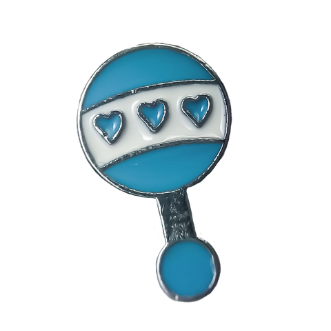 Blue Baby Rattle Charm