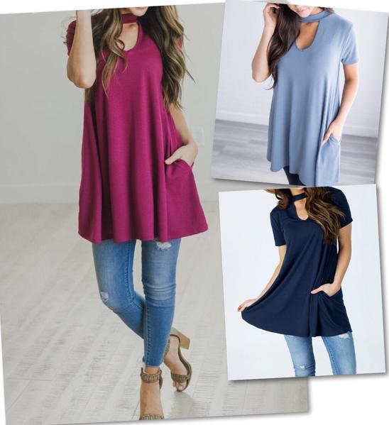 Choker Swing Tunic w/Pockets