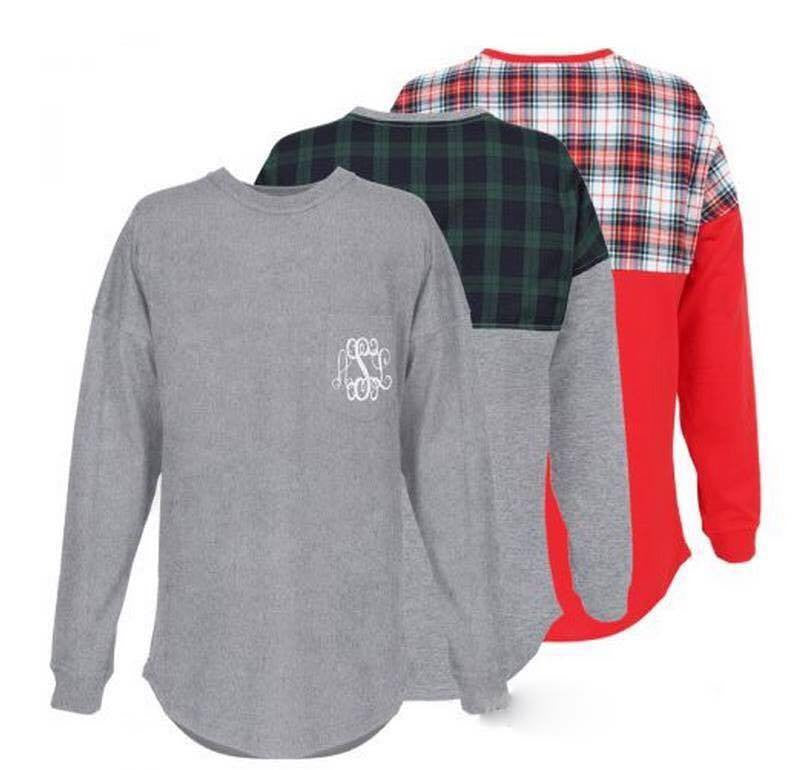 OVERSIZED JERSEY WITH PLAID BACK PANEL