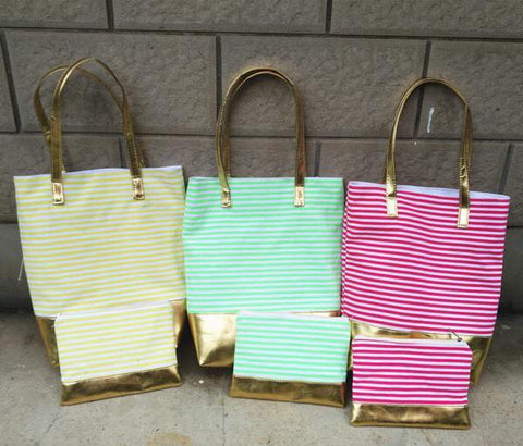 2 PC METALLIC TOTE SET WITH NEW COLORS