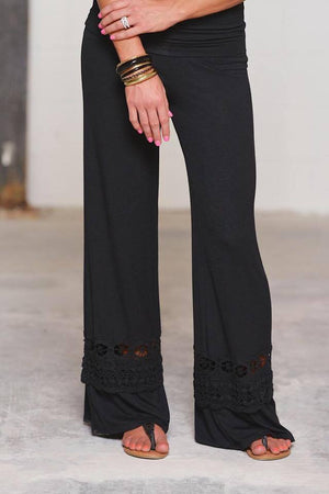 PALAZZO PANTS WITH CROCHET LACE