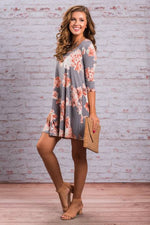 3/4 SLEEVE TUNIC DRESS