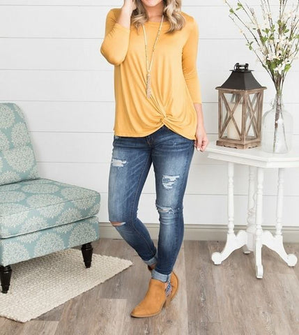 KNOTTED LONG SLEEVE SHIRT