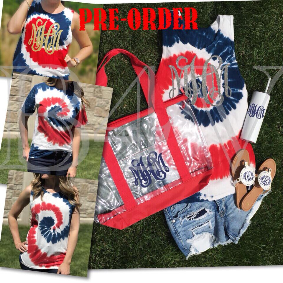 RED, WHITE & BLUE TIE DYED TEES & TANKS